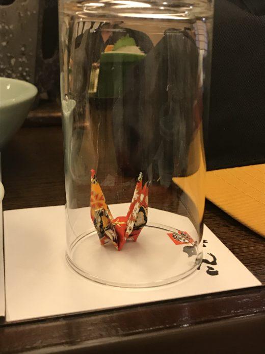 origami dans un verre, Sante en japonais